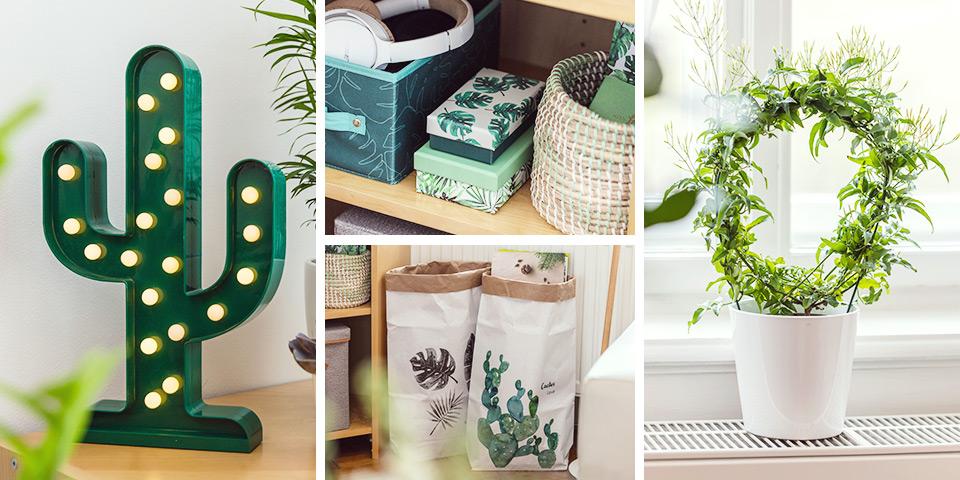 Detailné fotky zelených dekorácií z aktuálnej kolekcie Tchibo